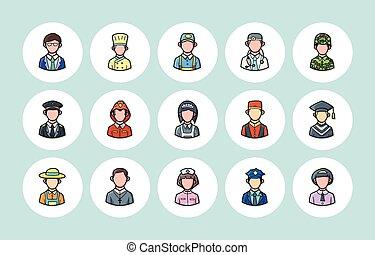 圖象, 人們, 集合, 職業, eps10