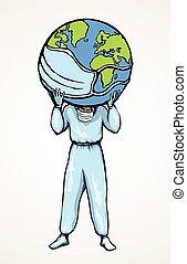 圖象, 他們, 醫生, 保持, 肩。, 矢量, 地球, 圖畫, 地圖集