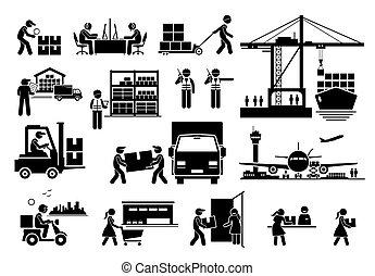 圖象, 工業, 發貨, 後勤, 進口, set., 出口