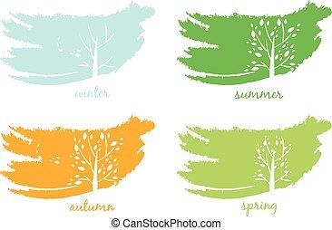 圖象, 樹。, 矢量, 摘要