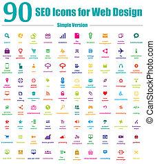 圖象, 网, 簡單, seo, 設計, 90