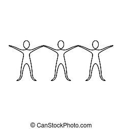 圖象, 舉起手來, 圖, 人們