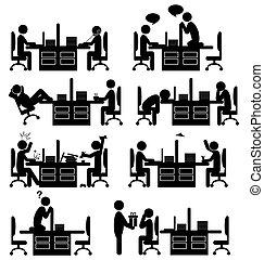圖象, 被隔离, 辦公室, 集合, 白色, 處境, 套間