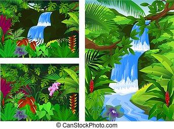 圖象, 集合, 框架, 瀑布, 風景