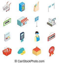 圖象, 風格, 集合, 等量, 3d, 超級市場