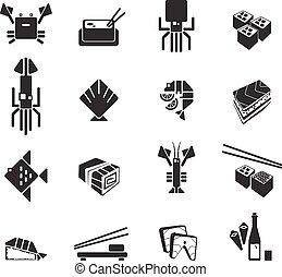 圖象, set., 壽司, 符號, 矢量, 黑色, 海鮮