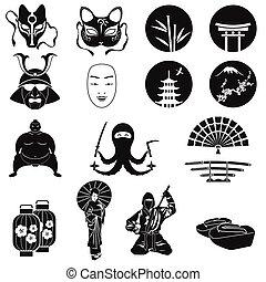 圖象, set., 日語, 符號, 主題, 矢量, 日本