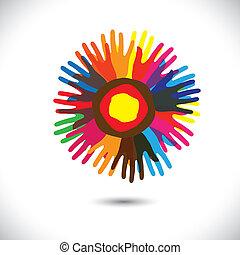 團結, 人們, 普遍, 社區, flower:, 站立, 圖象, concept., 手足情誼, 愉快, 鮮艷, 代表, 插圖, 手, 花瓣, 統一, 幫助, 圖表, 這, 等等, 矢量, 隊