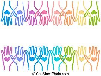 團結, 愛, 鮮艷, 人們, 一起, 手