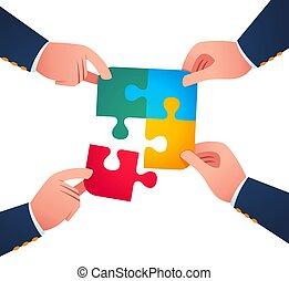 團結, 難題 片斷, 一起, 工作