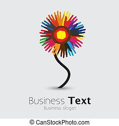 團結, flower-, 人們, 其他, graphic., 社區, 棕櫚, 站立, &, 手足情誼, 普遍, 鮮艷, 隊, 插圖, 手, 幫助, 代表, 支持, 這, 等等, 矢量, 每一個, 留下烙印