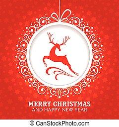 圣誕節卡片, 問候, 鹿