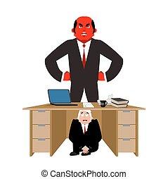 在下面, 商人, 惊嚇, 工作, 桌子, 矢量, board., 憤怒, 人, 受驚, deadline., boss., 商業描述
