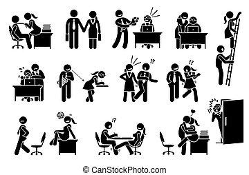 在之間, 關係, 辦公室, 事情, 調情, 愛, workers., co