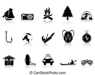 在戶外, 黑色, 露營, 圖象
