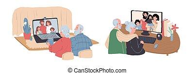 在網上, 插圖, 套間, 年長, 字符, 家庭, 談話, 卡通