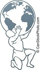 地圖集, 全球, 概念, titan, 藏品