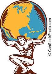 地圖集, 全球, 跪, 舉起, 木刻