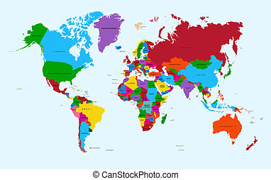 地圖集, 鮮艷, 地圖, file., eps10, 矢量, 世界, 國家