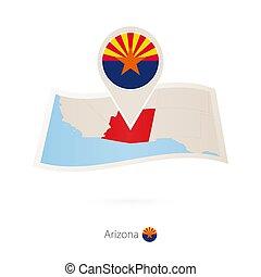 地圖, 亞利桑那, 別針, 美國, 摺疊, 狀態旗, 紙, arizona.
