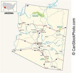 地圖, 亞利桑那, 美國人, 我們, 說明道路