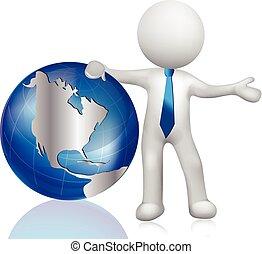 地圖, 人們。, 世界, 白色, 全球, 3d