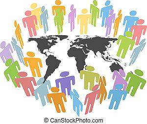 地圖, 人們, 全球, 人類, 地球, 問題, 人口