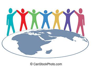地圖, 人們, 武器, 顏色, 手, 世界, 握住