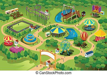 地圖, 公園, 娛樂