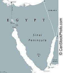 地圖, 半島, 政治, 西奈山, 埃及