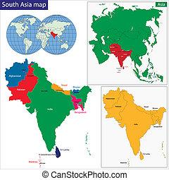 地圖, 南方, 亞洲
