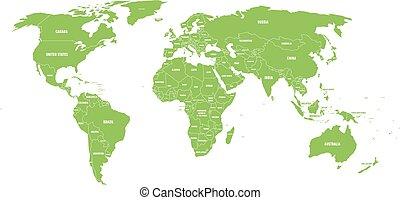地圖, 命名, 世界, 國家, 政治, labels., 手, 狀態, 矢量, 綠色, 插圖, 畫, 簡化, 邊境, 白色