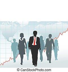 地圖, 商業界人士, 全球, 圖表, 步行, 隊, 世界