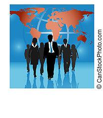 地圖, 商業界人士, 全球, 背景, 隊, 世界