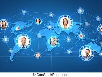 地圖, 在上方, businesspeople, 世界, 圖片