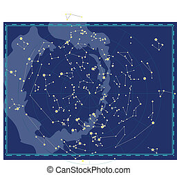 地圖, 天上, 天空, 夜晚
