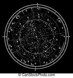 地圖, 天上, 星象, 占星術, 2021.