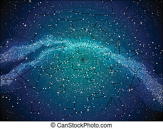 地圖, 天空, constellasions