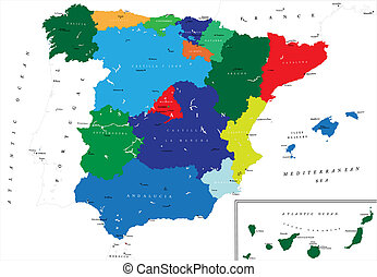 地圖, 政治, 西班牙
