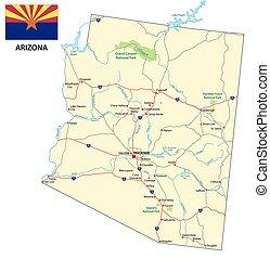 地圖, 旗, 亞利桑那, 路