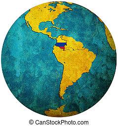 地圖, 旗, 全球, 哥倫比亞
