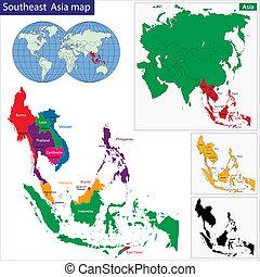 地圖, 東南, 亞洲