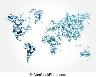 地圖, 概念, 健康, 雲, 形狀, 詞, 世界, 背景, 憂慮