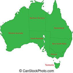 地圖, 澳大利亞, 綠色