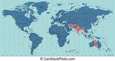 地圖, 矢量, 世界, 時區