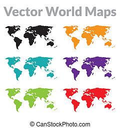 地圖, 矢量, 世界
