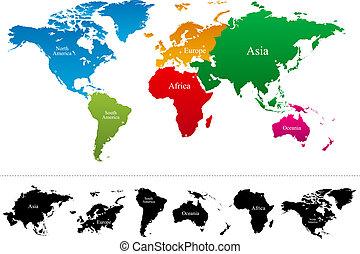 地圖, 矢量, 大陸, 鮮艷, 世界