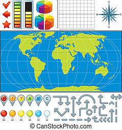 地圖, 矢量, 成套用具