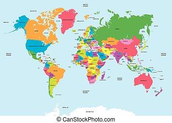 地圖, 矢量, 政治, 世界