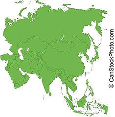 地圖, 綠色, 亞洲